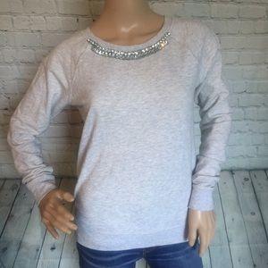 Rhinestone Embellished Crew Neck Collar Sweater